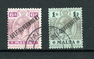 Malta 1922 8d and 1s SELF-GOVERNMENT opt FU CDS