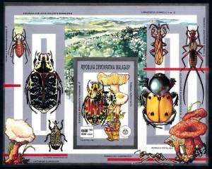 [95945] Madagascar 1993 Beetles Mushrooms OVP Baden Powell Imperf. Sheet MNH