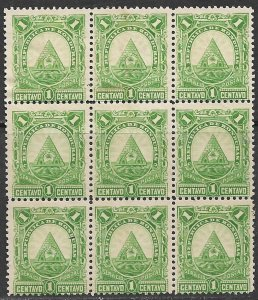 HONDURAS 1890 1c ARMS Issue BLOCK OF 9 Sc 40 MNG