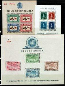 Venezuela 3 Souvenir Sheets, Never Hinged, few minor creases - M469