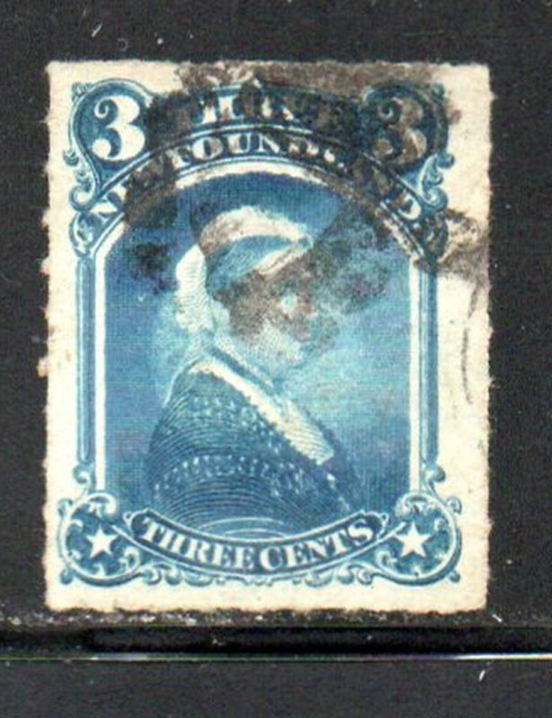 Newfoundland Sc  39 1877 3 c blue Victoria stamp rouletted used