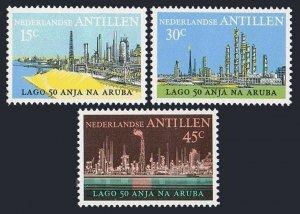 Neth Antilles 361-363,MNH.Michel 284-286. Oil Industry in Aruba,50th Ann.1974.