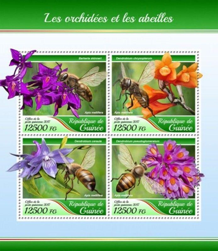 Guinea - 2017 Orchids & Bees - 4 Stamp Sheet - GU17420a