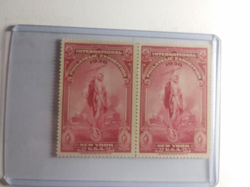 1936 RED NEW YORK PHILATELIC EXHIBITION NEVER HINGED TWIN GEMS !!!INTERESTING !