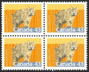 Canada Sc# 1170 MNH Block/4 1988 43¢ Lynx