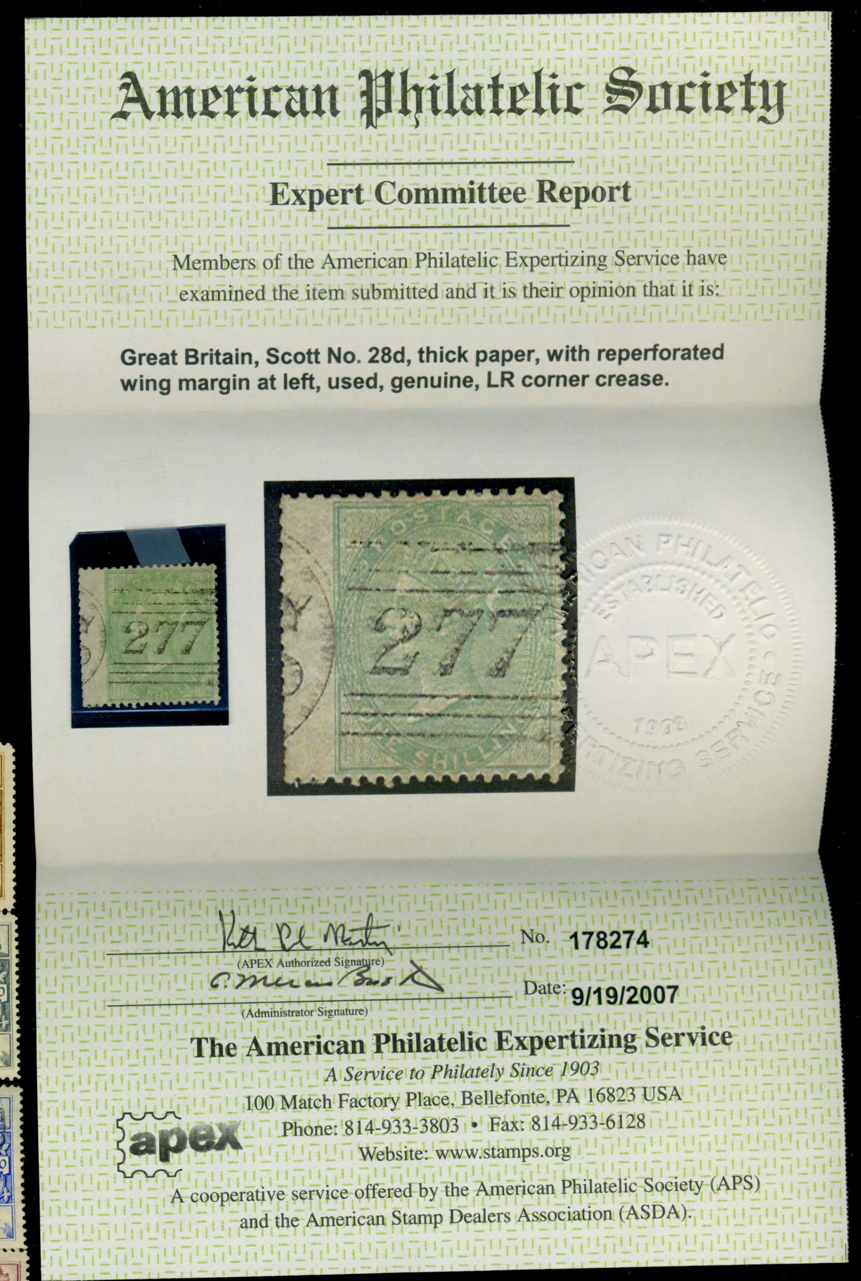Great Britain #28d Used F-VF reperfed Corner crease Cat$325