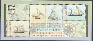 AUSTRALIA 1992 Columbus min sheet opt GENOA'92 Exhibition MNH.............40943A
