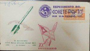 A) 1959, CUBA, POSTCARD ROCKET, XX ANNIVERSARY FIRST WORLD OFFICIAL