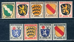 Germany - French Zone; 1945: Sc. # 4N1-4N4//4N6-4N10 MNH Short Set