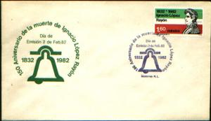 MEXICO 1265 FDC 150th Anniversary Death of Gen Lopez Rayon. VF.