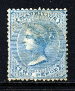 MAURITIUS Queen Victoria 1860 Two Pence Blue No Wmk SG 46 MNG