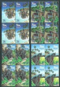 NIUE 2001 CRABS set blocks of 4 MNH........................................62413