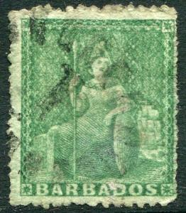 BARBADOS-1861-70 ½d Green Sg 21 GOOD USED V23862