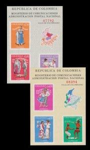 Colombia 1971 Souvenir Sheet Set Scott # 797 - 98. Unused