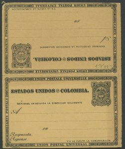 COLOMBIA UPU 1884 HG 9 MINT 2C DOUBLE CARD BLACK ON YELLOW BUFF AS SHOWN