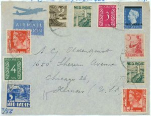 93707 - DUTCH INDIES Indonesia - POSTAL HISTORY - MIXED Franking on COVER to USA