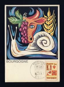 FRANCE - 1975 - Yv.1848 1,00fr BOURGOGNE sur CARTE MAXIMUM 1er JOUR FDC (b)