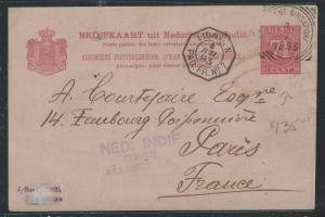 MALAYA (P0812B) 1893 FR LIGNE N, NI POSTAGENT SINGAPORE FROM NETHERLAND INDIES