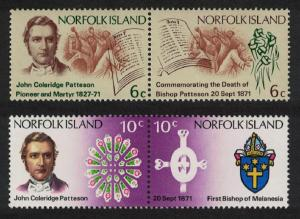 Norfolk Death Centenary of Bishop Patteson 4v Pairs SG#121-124 SC#144-147