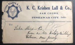 1930 Peshawar India Advertising Afghan Stamps & Coins cover to Paterson NJ USA