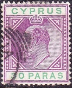 CYPRUS 1902 30p Mauve & Green SG51a Used