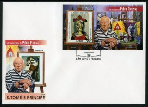 SAO TOME 2021 140th ANNIVERSARY OF PABLO PICASSO PAINTINGS SOUVENIR SHEET FDC