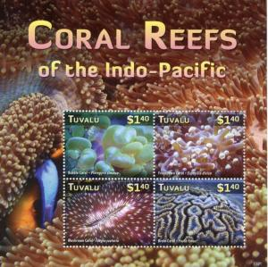 Tuvalu 2015 MNH Coral Reefs of Indo-Pacific 4v M/S Bubble Frogspawn Brain Stamps