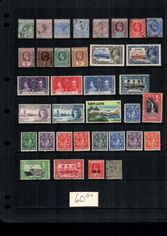 St. lucia  34  diff  cat $ 60.00 used and mint lot collection