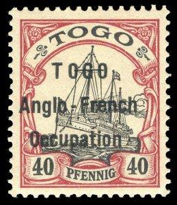 Togo 1914 40pf black & carmine very fine mint. SG H7. Sc 41.