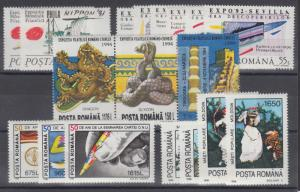 Romania Sc 3694/4072 MNH.  1991-1996 issues, 5 complete sets VF