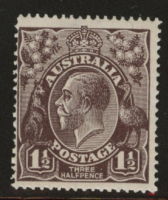 Australia Scott 24b MNH**  perf 14 wmk 9, Blk Brown 1918 KGV