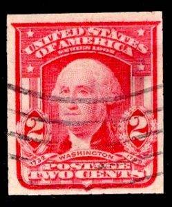 US Stamp #320 2c Carmine Washington IMPERF USED SCV $19.00