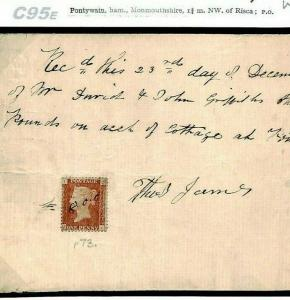 GB WALES *Pontywain* 1d RED USED AS REVENUE 1868 Receipt {samwells-covers}C95e