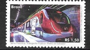 BRASIL BRAZIL 2017 TRAINS ,METRO,YV 3633 MNH