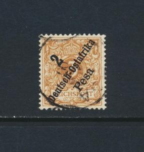 GERMAN EAST AFRICA 1896, 2p on 3pf LIGHT BROWN, VFU Sc#6a $45 (SEE BELOW)