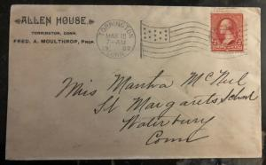 1902 Torrington CT USA Allen House Hotel Advertising Cover To Waterbury CT