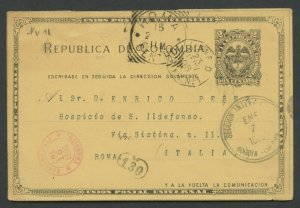 COLOMBIA HG 13 BOGOTA I/7/1898 TO ROME 2/15/1898 VIA LIGNE D FRENCH PAQUET SHOWN