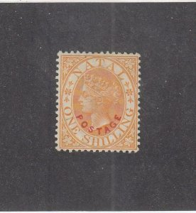NATAL (MK6480) # 76  VF-MH 1sh 1888  QUEEN VICTORIA O/PRINT IN RED CV $10