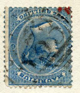 Mauritius 1863 sg 69w 1/- blue, fine used, wmk inverted