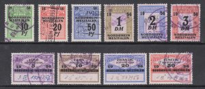 Germany, Nordrhein Westfalen, used 1956 Court Fee fiscal stamps, 10 different