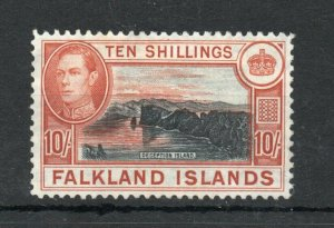 FALKLAND ISLANDS 10/- SG162c 49 ptg. L/hinged w/certificate very SCARCE.Cat £700