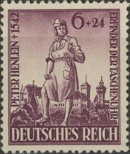 Stamp Germany Mi 819 Sc B208 1942 WWII 3rd Reich Peter Henlein Nuremberg MH