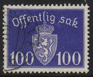 Stamp Norway Official Sc O043 WWII Dienst War Germany Coat Arms Quisling Used