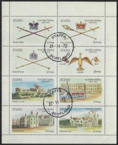 Staffa: CTO (Used) Miniature Sheet of 8 Royal Silver Wedding