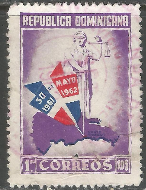 DOMINICAN REPUBLIC 564 VFU MAP Z924-2