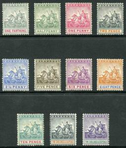 Barbados SG105/15 1892 Set of 11 wmk Crown CA M/M (8d hinge remainder)