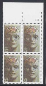 Catalog # 3065   Fulbright Scholarship Plate Block of 4 32 Cent Stamps