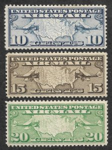 Doyle's_Stamps: MH Early Airmail Set Scott #C7* to #C9* -- 1926-1927