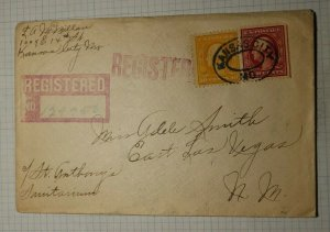 US Sc#332a or 375a 338a or 381 Used On Cover Registered Cover 1911 E LV NM