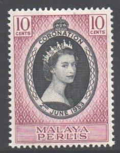 Malaya Perlis Scott 28 - SG28, 1953 Coronation 10c MH*